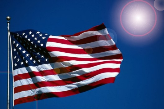 American flag and sun