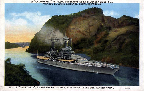 USS California in Canal
