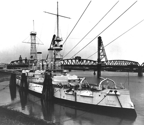 USS Oregon berthed in Portland